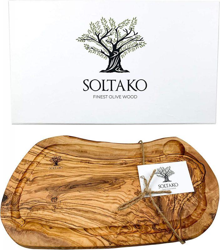 SOLTAKO Servierbrett aus Olivenholz